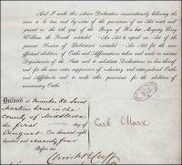 Carl Marx application for UK citizenship - click for full size image